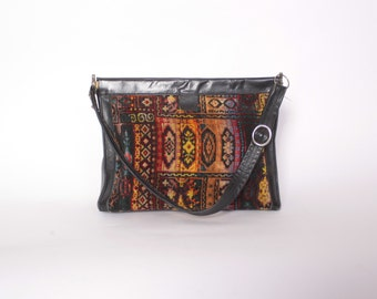 Vintage 60s CARPET BAG / 1960s Boho Ethnic Chenille & Black Leather Hinged Shoulder Bag