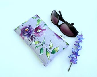 Roomy Sunglasses Case in a Purple Floral Design