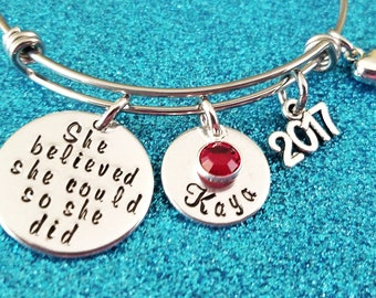Graduation Bracelet, She believed she could so she did bracelet, Graduation Gift for her, College Graduation, High School Graduation Gift