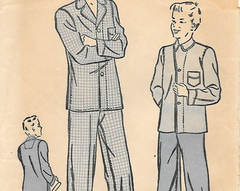 Advance 2141 1930s Boys and Youth Pajamas Vintage Unprinted Sewing Pattern Size 12