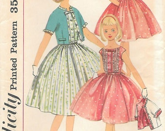 Simplicity 2015 UNCUT 1950s Girls Party Dress with Short Jacket Vintage Sewing Pattern Full Skirt Size 10