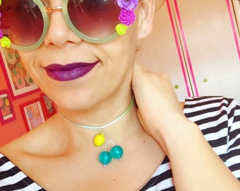 Cherry Choker, Cherry Necklace, Fruit Salad Necklace, Retro Style, Vintage Fruit Necklace, Pinup Style Necklace, Tiki Style, Rockabilly
