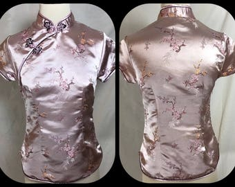 Lilac Cherry Blossom Jacquard Cheongsame top with Contrast Black Frog Closures - Size Small