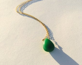 Chrysophase Drop Gold Necklace