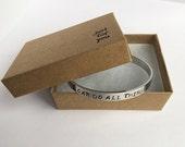 I can do all things cuff bracelet. Inspirational hand stamped Cuff bracelet. Personalized Jewelry. Custom Cuff Bracelet Christian Bracelet