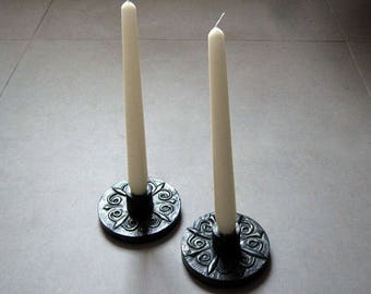 Pair of pewter candle holders / vintage candlesticks
