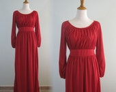 Lovely 70s Scarlet Red Jersey Dress - Vintage Jersey Gown with Gathered Bodice - Vintage 1970s Dress S M L as is