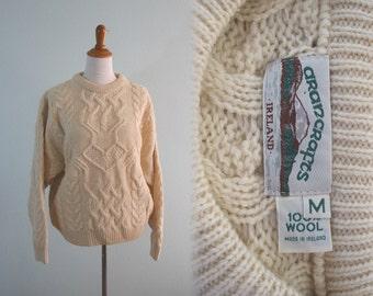 Vintage Irish Sweater - Classic Irish Fishermen Sweater from Aran Crafts - Vintage 80s Cream Wool Aran Sweater - Vintage 80s Sweater M L