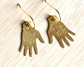 Hand Earrings, Frida Kahlo Charms, Gold Hand Earrings, Tattoo Hand Charms, Boho Earrings, Frida Earrings, Gift for Her, Gift for Him