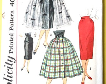 Uncut Simplicity 2609 1950s Misses Full and Pencil Slim Skirt Pattern   Waist 28 Hip 38 inches Vintage Sewing Pattern