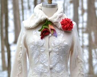 Wedding sweater COAT- fantasy boho Eco couture, Refashioned Winter Wonderland Weddings, OOAK art to wear.Size S/M. Ready to ship