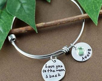 Personalized Bangle Bracelet, Love you to the moon and back Bracelet, Silver Bangle Charm Bracelet, Name Bracelet, Mother Jewelry
