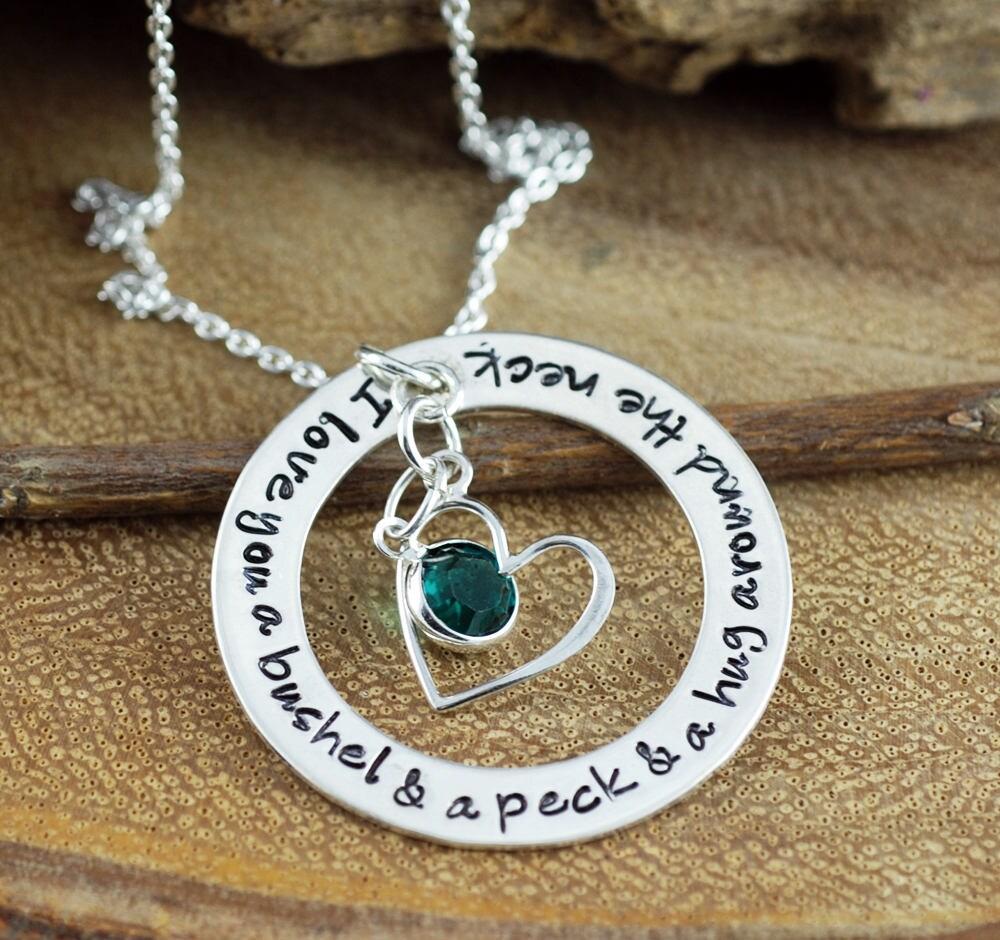 I Love You A Bushel And A Peck Necklace: I Love You A Bushel And A Peck Necklace Birthstone Necklace