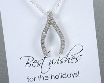 Wishbone Necklace, Sterling Silver Wishbone Necklace, Wishbone Pendant Lucky Charm Necklace Sterling Silver Wish Bone Necklace, Gift for Her