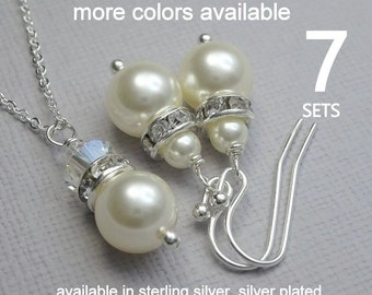 Bridesmaid Jewelry Set of 7, Swarovski Ivory Cream Pearl Necklace and Earring Set, Bridesmaid Jewelry Set, Bridal Party Jewelry