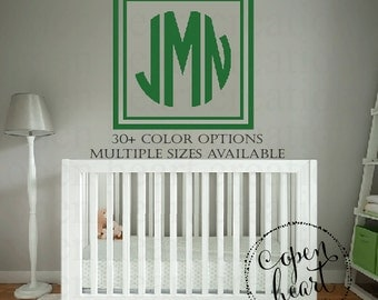 Monogram Wall Decal | Three Initial Monogram Decal with Square Border | Nursery Vinyl Decals | Personalized Decal FN0625