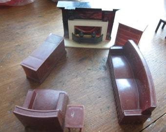 Dollhouse Decor. Living Room Sofa (marked Superior), Chairk, Chest of Drawers, TV, Fireplace. #298