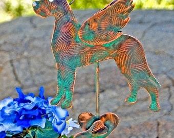 Great Dane  Stake / Pet Memorial / Metal Garden Art / Angel Decoration / Copper Art / Yard Art / Dog Sculpture / Indoor Outdoor / Patina