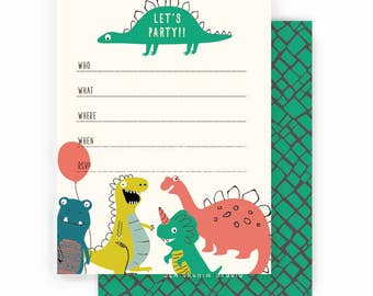 Dinosaurs birthday PARTY INVITATIONS, boy birthday party
