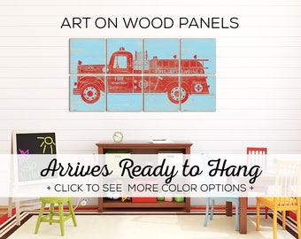 Large Kids Room Wall Art - Our Fire Truck Print is Perfect for Toddler Boy Room or Fire Truck Nursery Themes