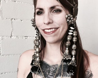 Tribal fusion bellydance headdress Tassels with tiny Mauritanian shells