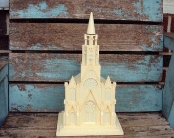 Vintage Christmas Church Raylite Electric Corp Light Music Box Silent Night Cathedral Church Mid Century Retro Kitsch 1950s Decoration