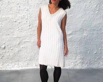 Vintage 1960s White Beaded and Sequin Sleeveless Party Dress by Montaldo's Pattullo - Jo Copeland M/L