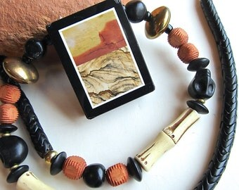 Southwestern Pendant Necklace in Picture Jasper and Jet