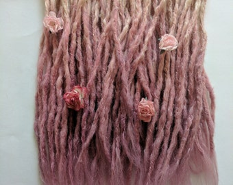 5 Double Ended Synthetic dreads. Dreadlocks. Dreadlock extensions, dread extensions. Blonde to dusty rose ombre knotty locs. Ready to ship
