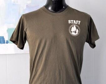 Vintage 80s TShirt Staff Massachusetts Department Environmental Management Faded Brown Natural Super Soft Thin MEDIUM