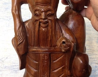 Vintage Hand Carved Wooden Happy Buddha
