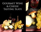 Gourmet Wine & Grapes Tasting Slate  - Artisan fully Handmade Miniature Dollhouse Food in 12th scale After Dark Miniatures