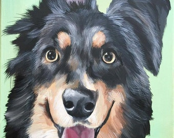 custom painted pet portrait sample Canvas Size 10x10 RIP all dogs go to heaven in Memory of