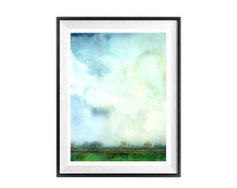 Original Sky Painting : Sky watercolor painting, Ooak Painting, Blue sky and clouds, Watercolour art, Painting of sky