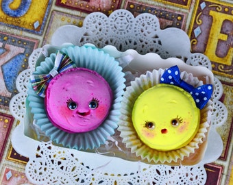 SALE!! - Set of 2 funny macarons - art dolls, cookies, macaron , art toy, tea party, fantasy pets