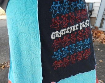 Grateful Dead Bears Daisy T Skirt Tie Dye Festival Hippie Shirt OOAK Patchwork