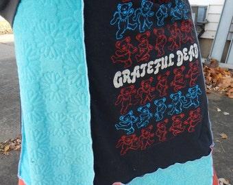 SALE Grateful Dead Bears Daisy T Skirt Tie Dye Festival Hippie Shirt OOAK Patchwork