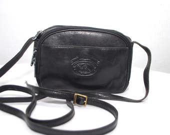 80s back leather crossbody bag by PICARD. small black bag. shoulder purse