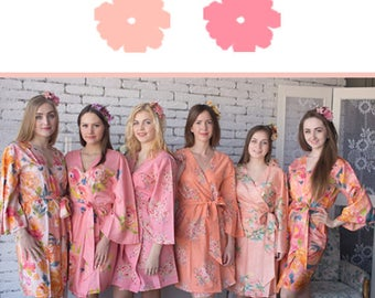 Peach and Rose Pink Wedding Color Bridesmaids Robes - Premium Rayon Fabric - Wider Belt and Lapels - Wider Kimono sleeves