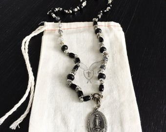 Men's Handmade Black, Silver and Grey, Wood, Horn and Glass Necklace with Vintage Sterling Silver Miraculous Medal with US Army Emblem