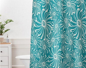 Modern Floral Shower Curtain // Bathroom // Bursting Bloom Design // Boho Shower Curtain // Shower // Bathroom Decor // Aqua // Teal Shower