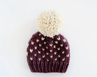 Toddler Hats for Girls // Baby Hats for Girls // Hats for Kids // Hats for Babies // Knit Pom Pom Hat // Fair Isle Hat