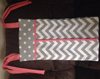 Diaper stacker holder crib gray grey chevron coral