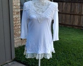 Altered Women's White Top,Altered Couture,Size Small, Lace and,Crochet Trim, Shabby Chic, Romantic Top, Cottage Chic Blouse, Vintage Style