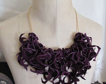 Beautiful Purple Soft Suede Leather Curly Fringe Bib Necklace Choker (#17) Many to choose from!