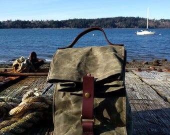 Olive Green Waxed Canvas, Cordura, and Leather Reusable Insulated Lunch Bag - Ready to Ship!