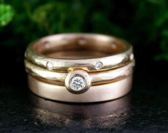 Rose Gold and Diamond Stacking Rings, Wedding Rings, Engagement Rings, Bridal Sets, Handmade, Rustic, Matte Finish, Ring Set, 7.5mm Width