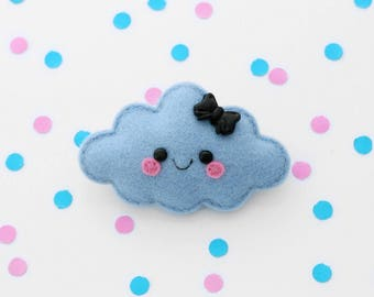 Happy Blue Cloud Felt Brooch, Handmade in England, hannahdoodle pin