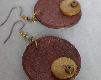 copper,gold,and brass earrings
