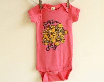 """Organic Cotton """"Sweet as Satsuma Y'all"""" Baby Onesie, Infant Bodysuit, Eco Friendly, Baby shower Gift, Southern Fashion, Fruit, Kids clothing"""